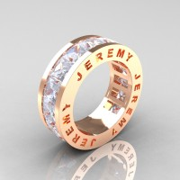 Jeremy Modern 14K Rose Gold 8.0 Ct Princess White Sapphire Channel Cluster Mens Wedding Band R374M-14KRGWS