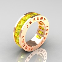 Jeremy Modern 14K Rose Gold 8.0 Ct Princess Yellow Sapphire Channel Cluster Mens Wedding Band R374M-14KRGYS