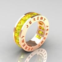 Jeremy Modern 14K Rose Gold 8.0 Ct Princess Yellow Sapphire Channel Cluster Mens Wedding Band R374M-14KRGYS
