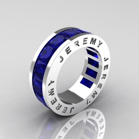 Jeremy-Modern-14K-White-Gold-8-0-Ct-Princess-Blue-Sapphire-Channel-Cluster-Mens-Wedding-Band-R374M-14KWGBS-P