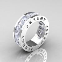 Jeremy Modern 14K White Gold 8.0 Ct Princess White Sapphire Channel Cluster Mens Wedding Band R374M-14KWGWS