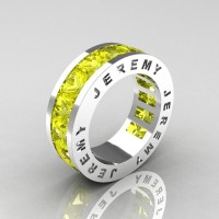 Jeremy Modern 14K White Gold 8.0 Ct Princess Yellow Sapphire Channel Cluster Mens Wedding Band R374M-14KWGYS
