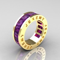 Jeremy Modern 14K Yellow Gold 8.0 Ct Princess Amethyst Channel Cluster Mens Wedding Band R374M-14KYGAM