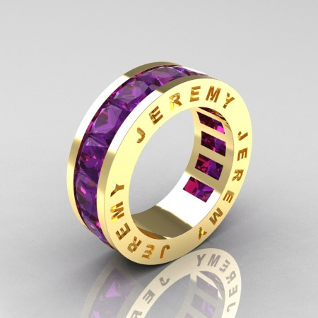 Jeremy-Modern-14K-Yellow-Gold-Princess-Amethyst-Channel-Cluster-Mens-Wedding-Band-R374M-14KYGAM-P3
