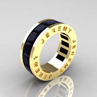 Jeremy Modern 14K Yellow Gold 8.0 Ct Princess Black Diamond Channel Cluster Mens Wedding Band R374M-14KYGBD
