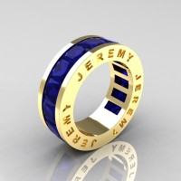 Jeremy Modern 14K Yellow Gold 8.0 Ct Princess Blue Sapphire Channel Cluster Mens Wedding Band R374M-14KYGBS