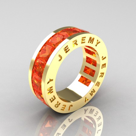 Jeremy-Modern-14K-Yellow-Gold-Princess-Orange-Sapphire-Channel-Cluster-Mens-Wedding-Band-R374M-14KYGOS-P