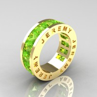 Jeremy Modern 14K Yellow Gold 8.0 Ct Princess Peridot Channel Cluster Mens Wedding Band R374M-14KYGP