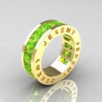Jeremy Modern 14K Yellow Gold 8.0 Ct Princess Peridot Channel Cluster Mens Wedding Band R374M-14KYGP