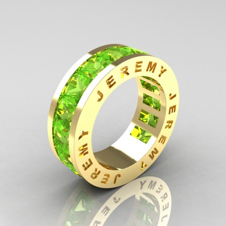 Jeremy-Modern-14K-Yellow-Gold-Princess-Peridot-Channel-Cluster-Mens-Wedding-Band-R374M-14KYGP-P