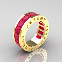 Jeremy Modern 14K Yellow Gold 8.0 Ct Princess Ruby Channel Cluster Mens Wedding Band R374M-14KYGR
