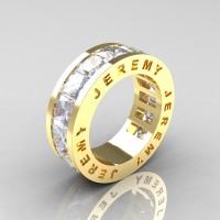 Jeremy Modern 14K Yellow Gold 8.0 Ct Princess White Sapphire Channel Cluster Mens Wedding Band R374M-14KYGWS
