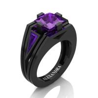 Mens Modern 14K Black Gold 4.0 Ct Princess and Triangle Royal Purple Amethyst Wedding Ring A1006M-14KBGAM