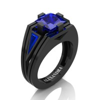 Mens Modern 14K Black Gold 4.0 Ct Princess and Triangle Blue Sapphire Wedding Ring A1006M-14KBGBS