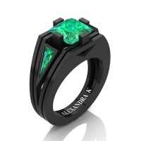 Mens Modern 14K Black Gold 4.0 Ct Princess and Triangle Emerald Wedding Ring A1006M-14KBGEM
