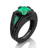 Mens Modern 14K Black Gold 4.0 Ct Princess and Triangle Emerald Wedding Ring A1006M-14KBGEM