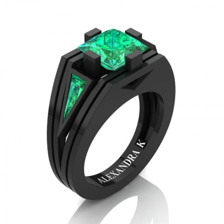 Mens-Modern-14K-Black-Gold-4-0-Carat-Princess-and-Triangle-Emerald-Wedding-Ring-A1006M-14KBGEM-P