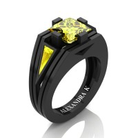 Mens Modern 14K Black Gold 4.0 Ct Princess and Triangle Yellow Sapphire Wedding Ring A1006M-14KBGYS