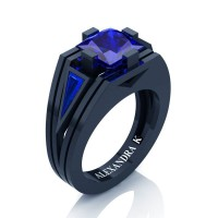 Mens Modern 14K Navy Blue Gold 4.0 Ct Princess and Triangle Blue Sapphire Wedding Ring A1006M-14KNBGBS