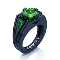 Mens Modern 14K Navy Blue Gold 4.0 Ct Princess and Triangle Emerald Wedding Ring A1006M-14KNBGEM