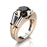 Mens Modern 14K Rose Gold 4.0 Ct Princess and Triangle Black Diamond Wedding Ring A1006M-14KRGBD