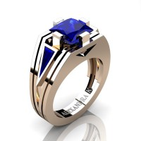 Mens Modern 14K Rose Gold 4.0 Ct Princess and Triangle Blue Sapphire Wedding Ring A1006M-14KRGBS