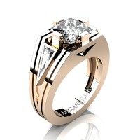 Mens Modern 14K Rose Gold 4.0 Ct Princess and Triangle White Sapphire Wedding Ring A1006M-14KRGWS