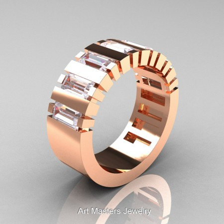 Mens-Modern-14K-Rose-Gold-Russian-Ice-Simulated-Diamond-Baguette-Cluster-Tank-Wedding-Band-R395-14KRGRISD-P