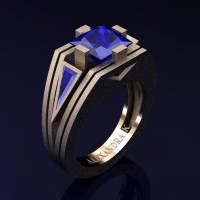Mens Modern 14K Rose Gold Sandblast 4.0 Ct Princess and Triangle Blue Sapphire Wedding Ring A1006M-14KRGSBS