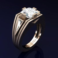 Mens Modern 14K Rose Gold Sandblast 4.0 Ct Princess and Triangle White Sapphire Wedding Ring A1006M-14KRGSWS