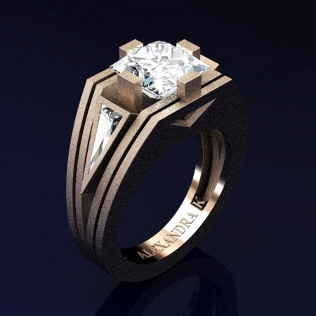 Mens-Modern-14K-Sandblast-Rose-Gold-4-0-Carat-Princess-and-Triangle-White-Sapphire-Wedding-Ring-A1006M-14KRGSWS-P