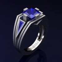 Mens Modern 14K White Gold Sandblast 4.0 Ct Princess and Triangle Blue Sapphire Wedding Ring A1006M-14KWGSBS