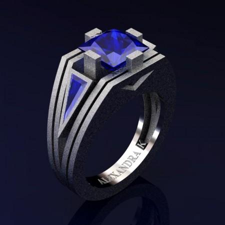 Mens-Modern-14K-Sandblast-White-Gold-4-0-Carat-Princess-and-Triangle-Blue-Sapphire-Wedding-Ring-A1006M-14KWGSBS-P