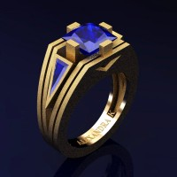 Mens Modern 14K Yellow Gold Sandblast 4.0 Ct Princess and Triangle Blue Sapphire Wedding Ring A1006M-14KYGSBS