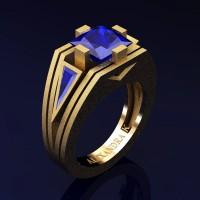 Mens Modern 14K Yellow Gold Sandblast 4.0 Ct Princess and Triangle Blue Sapphire Wedding Ring A1006M-14KYGSBS