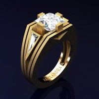 Mens Modern 14K Yellow Gold Sandblast 4.0 Ct Princess and Triangle White Sapphire Wedding Ring A1006M-14KYGSWS