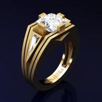 Mens Modern 14K Yellow Gold Sandblast 4.0 Ct Princess and Triangle White Sapphire Wedding Ring A1006M-14KYGSWS