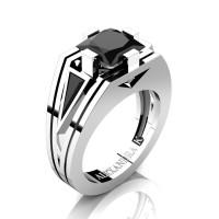 Mens Modern 14K White Gold 4.0 Ct Princess and Triangle Black Diamond Wedding Ring A1006M-14KWGBD