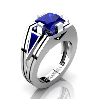 Mens Modern 14K White Gold 4.0 Ct Princess and Triangle Blue Sapphire Wedding Ring A1006M-14KWGBS