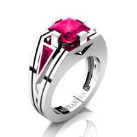 Mens Modern 14K White Gold 4.0 Ct Princess and Triangle Ruby Wedding Ring A1006M-14KWGR