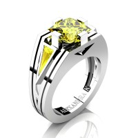 Mens Modern 14K White Gold 4.0 Ct Princess and Triangle Yellow Sapphire Wedding Ring A1006M-14KWGYS
