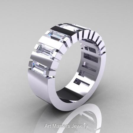Mens-Modern-14K-White-Gold-White-Sapphire-Baguette-Cluster-Wedding-Band-R395-14KWGWS-P