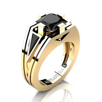 Mens Modern 14K Yellow Gold 4.0 Ct Princess and Triangle Black Diamond Wedding Ring A1006M-14KYGBD