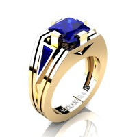 Mens Modern 14K Yellow Gold 4.0 Ct Princess and Triangle Blue Sapphire Wedding Ring A1006M-14KYGBS