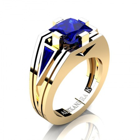 Mens-Modern-14K-Yellow-Gold-4-0-Carat-Princess-and-Triangle-Blue-Sapphire-Wedding-Ring-A1006M-14KYGBS-P2