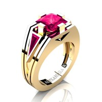 Mens Modern 14K Yellow Gold 4.0 Ct Princess and Triangle Ruby Wedding Ring A1006M-14KYGR