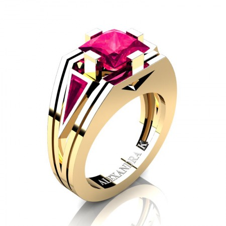 Mens-Modern-14K-Yellow-Gold-4-0-Carat-Princess-and-Triangle-Rose-Ruby-Wedding-Ring-A1006M-14KYGRR-P