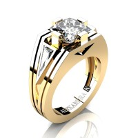 Mens Modern 14K Yellow Gold 4.0 Ct Princess and Triangle White Sapphire Wedding Ring A1006M-14KYGWS