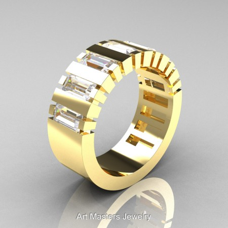 Mens-Modern-14K-Yellow-Gold-Russian-Ice-Simulated-Diamond-Baguette-Cluster-Tank-Wedding-Band-R395-14KYGRISD-P