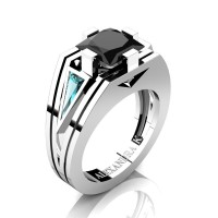 Mens Modern 950 Platinum 4.0 Ct Princess Black Diamond Triangle Blue Diamond Wedding Ring A1006M-PLATBLDBD